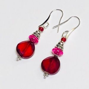 Ruby Red Crystal & Hot Pink Quartz & Jade Earrings